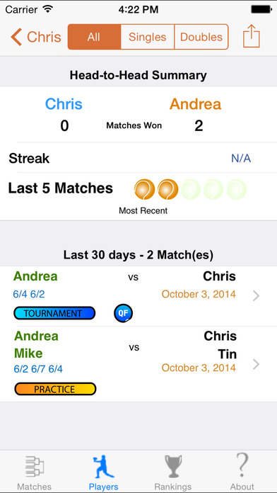My Tennis Buddy iPhone Screenshot 2