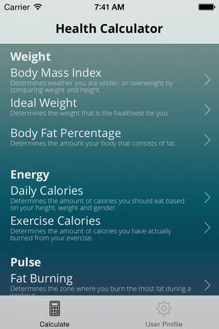 Tanis Health Calculator screenshot 1