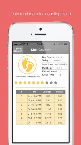 Baby Kick Counter Monitor - Fetal movement and pregnancy tracker.