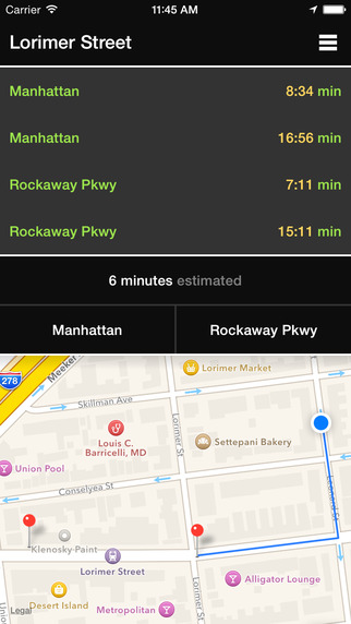 L Train NYC - Arrival Times Departure Alarms