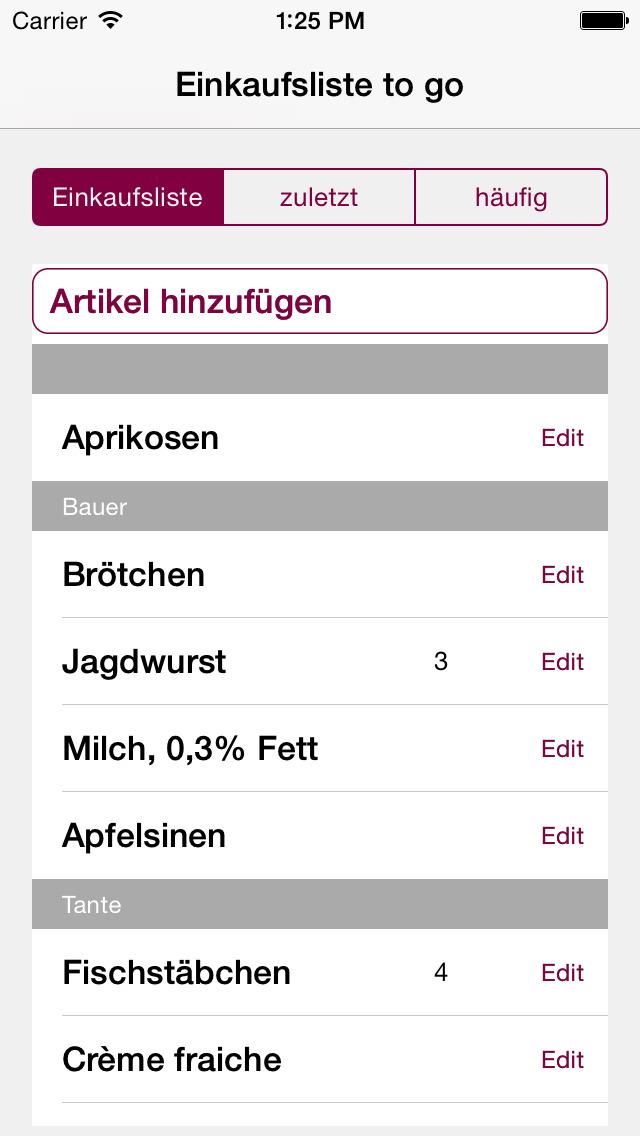 familyList Einkaufsliste to go