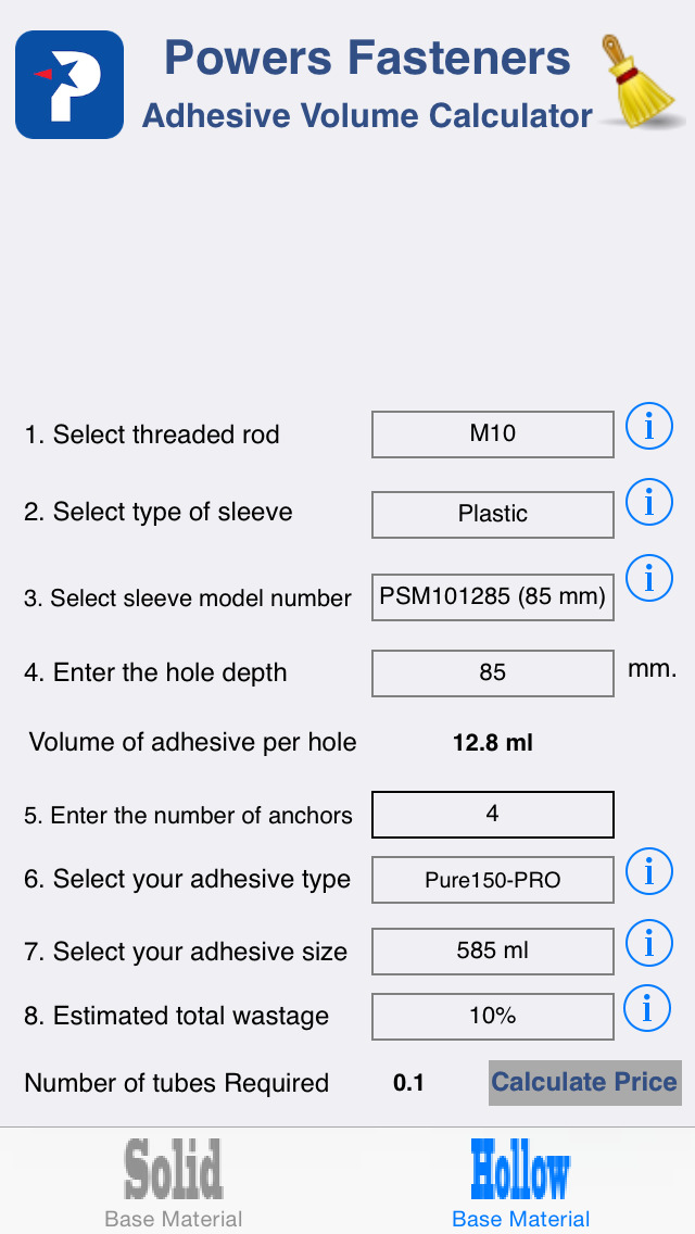 Adhesive Volume Calculator Ios