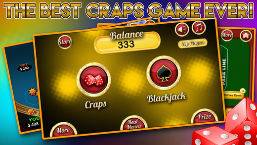 Classic Vegas Craps Roll with Blackjack Party Casino Blitz and Big Wheel Double Jackpots