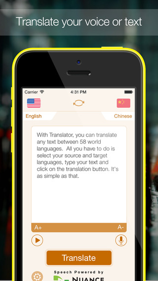 Translator : Translate from English to around sixty world languages (with speech recognition and text-to-speech)