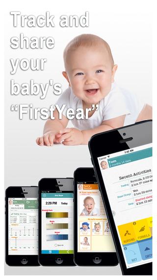 FirstYear - Baby tracker breastfeeding nursing timer bottle feeding sleep diaper milestone log growt