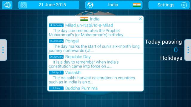 National Holidays Globe