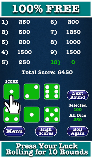 Farkle FREE Perfect for One Player Solo Version - Roll Six Dice For Ten Rounds And Press Your Luck