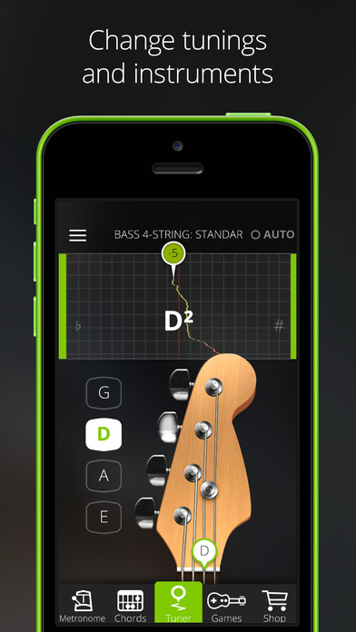 Screenshots of Guitar Tuna – The Ultimate Free Tuner for Guitar, Bass and Ukulele with Chord tab game and Metronome for iPhone