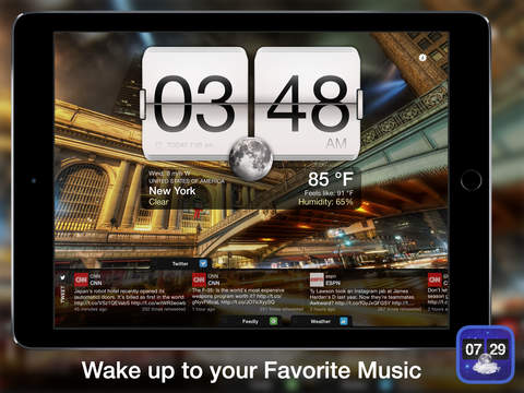 Screenshot 1 Night Stand for iPad - Free Alarm Clock,  Weather & Social Reader
