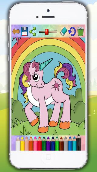 Unicornios y ponis - dibujos para pintar y libro para colorear - Premium