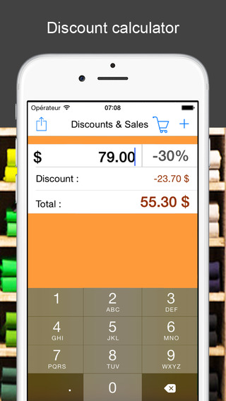 Discounts Sales the percentage calculator to help you find the bargains during your mobile shopping