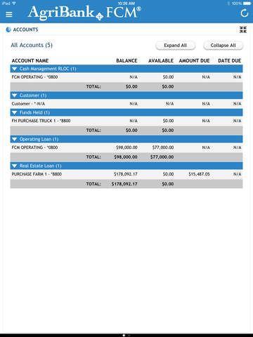 Farm Cash Management® – FCM® Employee Mobile Banking for iPad