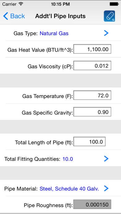 HVAC Pipe Sizer - Gas Low iPhone Screenshot 5