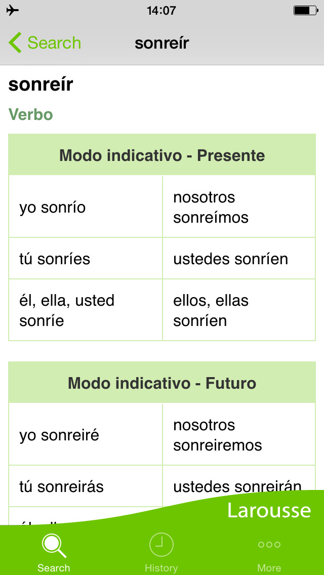 Conjugation of verbs in English: categories and features
