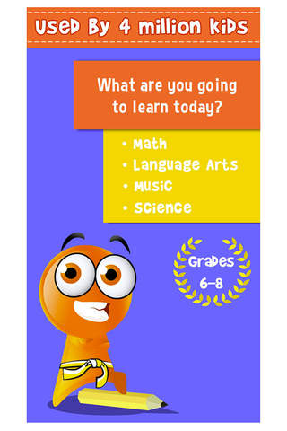 Screenshot 1 iTooch Middle School App | Free Math and Language Arts worksheets & fun learning games for 6th,  7th and 8th grades kids