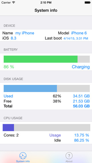 Easy System Info - Check your phone's Battery level and info, also for Apple Watch! Screenshots