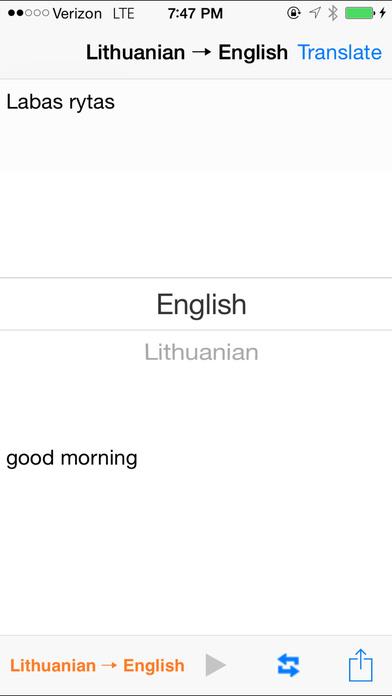English Lithuanian Translator iPhone Screenshot 2