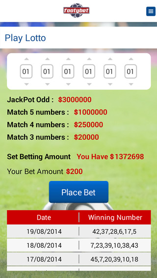 Footybet Football Virtual Betting Game