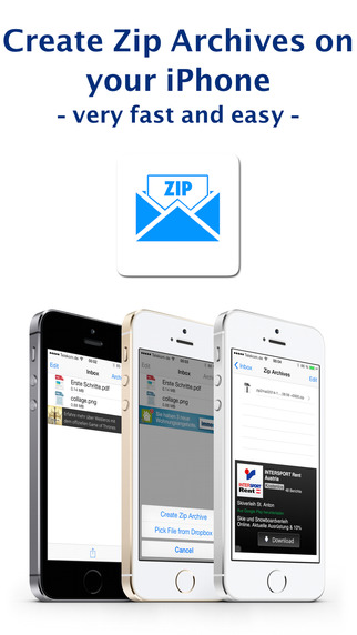 Zip to Mail - easily create zip files from email images from Camera Roll other apps