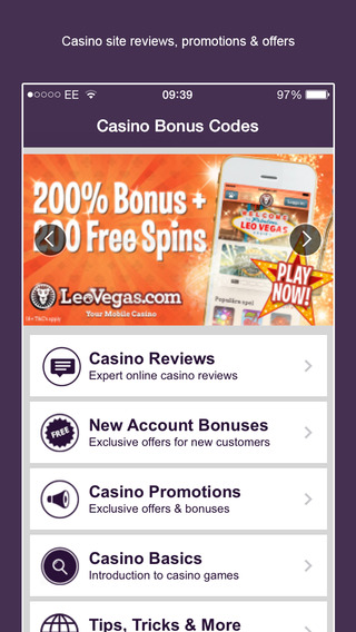 Casino Bonus Codes for mobile casinos slots and apps