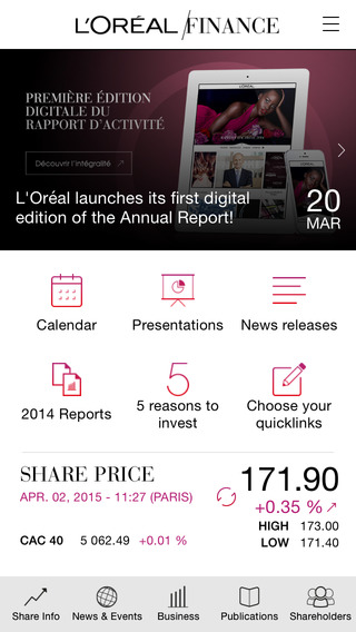 L'Oréal Finance for iPhone