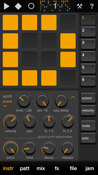 Elastic Drums Apps til iPhone / iPad screenshot