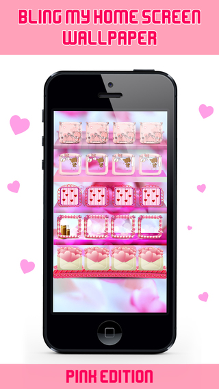 Bling My Home Screen Wallpaper - Pink Theme Backgrounds with Frame Shelve Docks