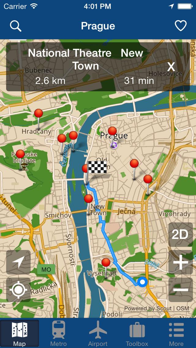 本应用为您提供布拉格城市,地铁,机场的离线地图。精美的地图和准确的GPS定位,让从你下飞机,入关,乘地铁,到城市漫步,提供了一条龙的地图讯息,让你在布拉格轻松自助游!全部数据储存在本地,无需3G,WIFI,和数据漫游,节省高昂的漫游费用。内置地址书签,可以提前制定旅行计划,随时掌控自己的旅程。地铁,机场地图采用切片加载方式,清晰,准确。 天气预报,货币换算,并且离线可用。 新增导航功能,同样可以离线适用,具备步行,骑车和开车3种模式。 内置10大旅游景点: 1, Prague Castle 2, Nati