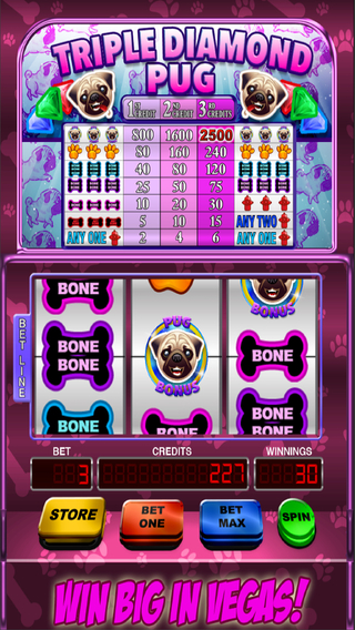 Triple Diamond Pug Slot Machine FREE