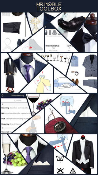 Mr. Noble's Gentleman Tools - How to Tie a Tie Size Converter Dress Codes Ironing Guide Wine Glossar