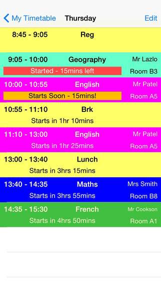 School Timetable - Lesson Course Schedule for Student Teacher Organiser