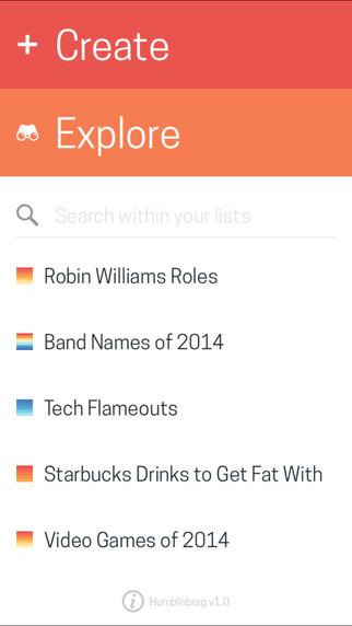 Humblebrag - Share and Create Ranked Lists
