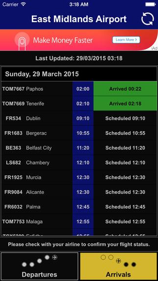Flight Board - East Midlands Airport EMA