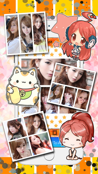 Cute Cartoon Sticker Photo Girl Frame