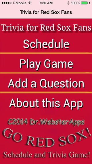 Baseball Schedule and Trivia Game for Boston Red Sox Fans