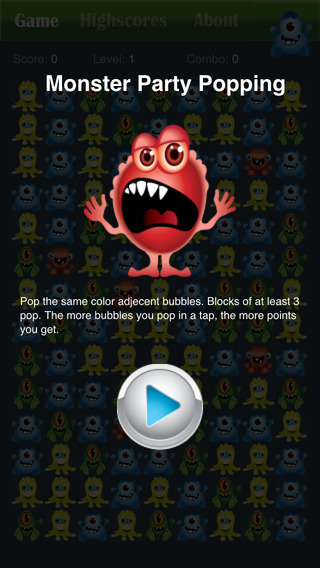 Monster Party Popping Puzzle Game Free - Halloween edition