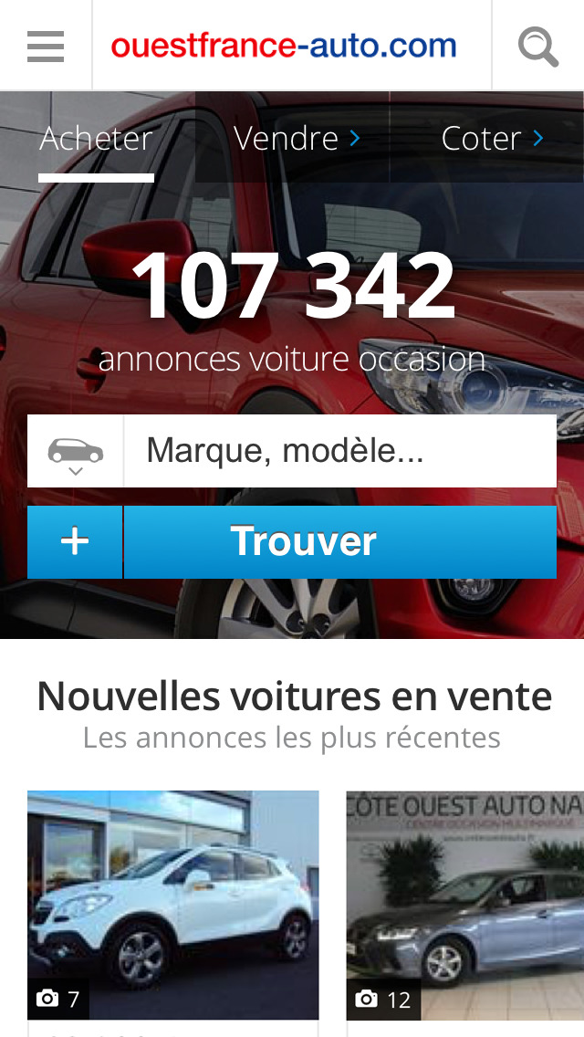 app shopper ouest france auto annonces voiture occasion. Black Bedroom Furniture Sets. Home Design Ideas