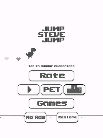 Jump Steve Jump - 8-bit Dinosaur Journey Widget Game для iPad