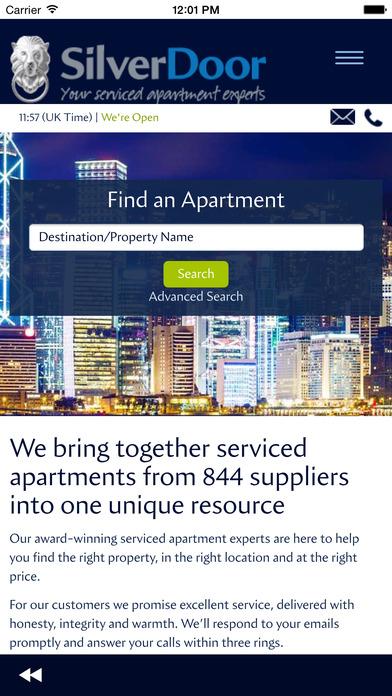 SilverDoor Serviced Apartment Search iPhone Screenshot 1