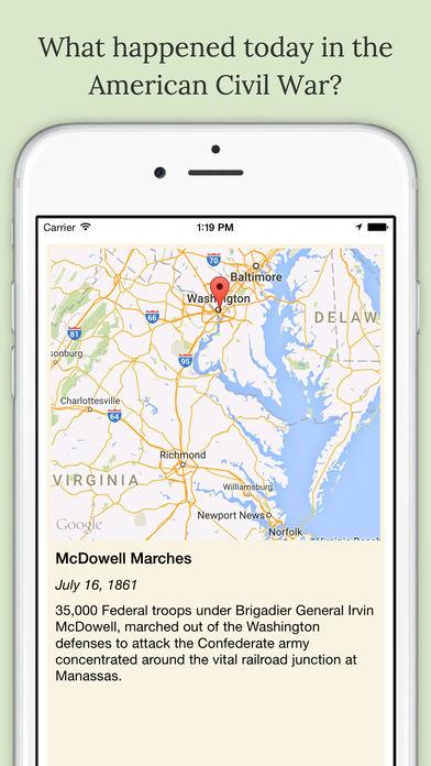 American Civil War Daily iPhone Screenshot 1