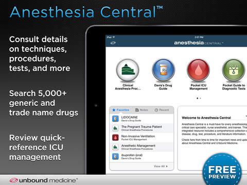 Anesthesia Central iPad Screenshot 1