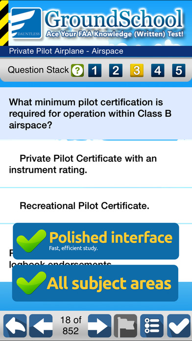 GroundSchool FAA Knowledge Test Prep - Private and Recreational Pilot iPhone Screenshot 2