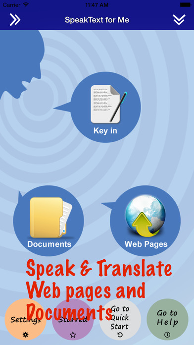 SpeakText for Me - Translate with voice (Touch Web and Documents, then translate with voice) iPhone Screenshot 1