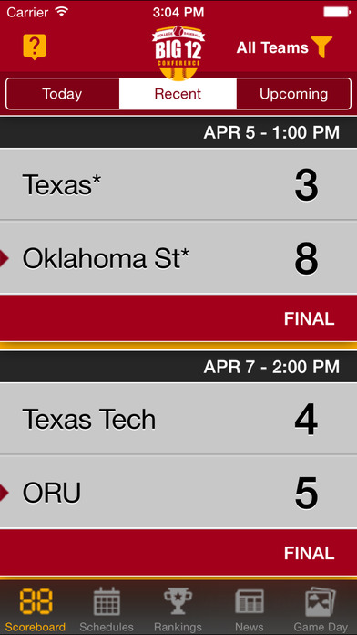 Big 12 Baseball - My Pocket Schedules, Schedule, Scores & Game Times iPhone Screenshot 1