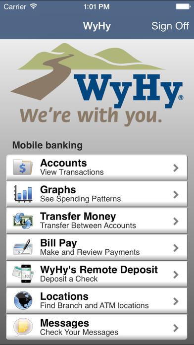 WyHy Mobile Banking iPhone Screenshot 2