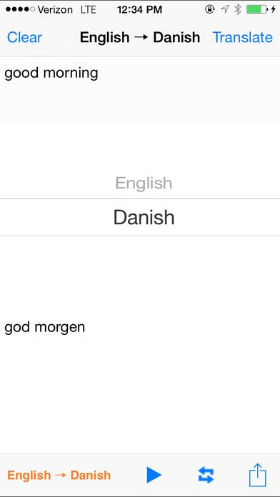 English Danish Translator iPhone Screenshot 2