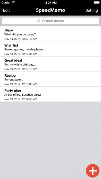 SpeedMemo iPhone Screenshot 2