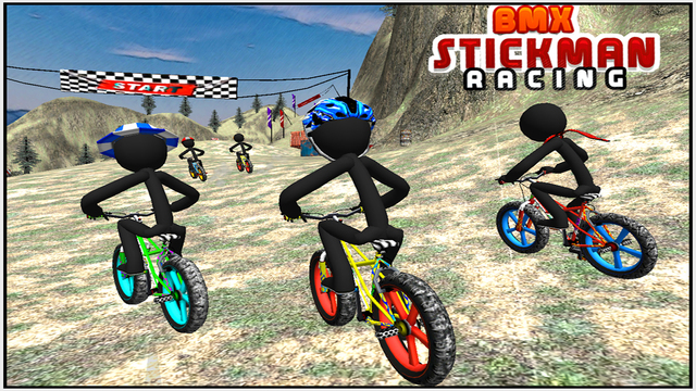 BMX Stickman Racing Offroad 3D Stick man Bike Racing on Mountains Hills Ice road
