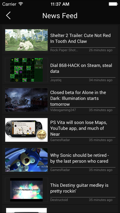 GameFeed app screenshot