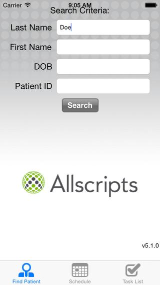 Allscripts ePrescribe for iPhone iPhone Screenshot 1